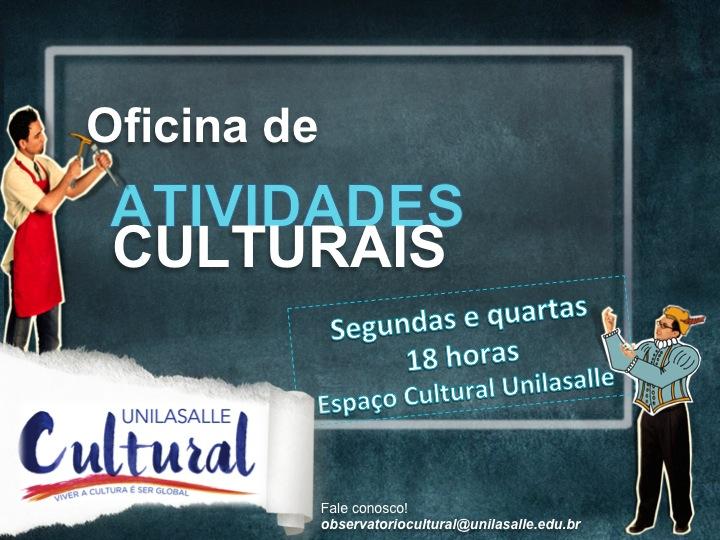 Convite para as oficinas de Atividades Culturais